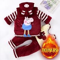婴儿秋冬季棉衣套装加厚0-1岁男宝宝冬装棉袄背带棉裤三件套