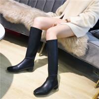英伦风时尚方头粗跟方根长靴女冬季新款长筒棉靴黑色百搭骑士靴
