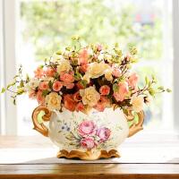 奇居良品 欧式高仿真花客厅假花装饰品玫瑰花卉绢花花瓶花艺套装