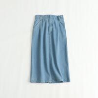 女新牛仔半身裙 高腰松紧腰复古日系显瘦纯棉中长裙