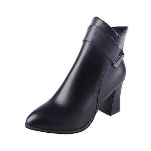WARORWAR新品YM29-3877T秋冬欧美粗跟高跟女士靴子短靴