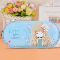 小清新可爱笔袋韩国女孩创意文具盒小学生简约女生铅笔盒 (609)A款天蓝色 无密码锁 609
