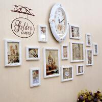 欧式照片墙装饰创意组合相框墙挂墙卧室客厅餐厅相片墙挂墙带钟表 白色雕花框+时钟