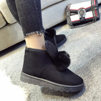 ins可爱厚底棉鞋女冬季加绒小短靴保暖外穿毛毛绒雪地靴