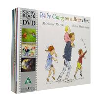 英文原版绘本 We're Going on a Bear hunt 10本书+10DVD 4-8岁 含我们一起去猎熊 猫