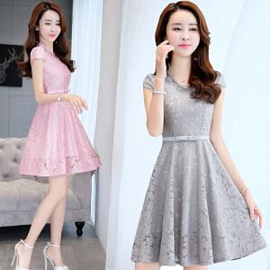 夏天连衣裙女2018新款女装夏装韩版中长款群子夏季小个子清新裙子