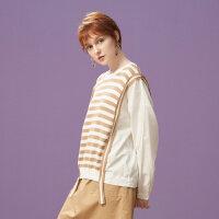 【1件3折到手价:71.7】美特斯邦威套头毛衣女休闲个性长袖毛衫韩版潮上衣秋装新款