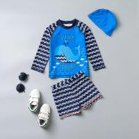 韩国儿童泳衣 男童中小童分体泳装宝宝游泳衣裤速干婴儿泳衣带帽 HX-1779分体蓝海豚