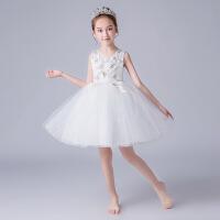 儿童表演出婚纱礼服裙女童连衣裙背心公主白裙夏季新款蓬蓬纱裙子