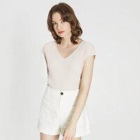 【1件2.5折到手价:96.3】MECITY女装夏新品简约优雅原宿风V领腰带上衣