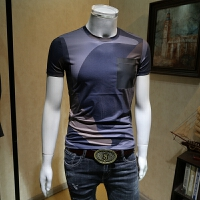 男士短袖t恤男2018新款个性潮男半袖青年圆领潮流韩版修身花体恤 蓝色 M