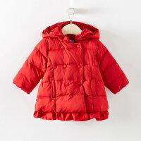 【1件4折到手价:208】美特斯邦威旗下moomoo童装女童羽绒服中长款新款冬季洋气鸭绒小儿童宝宝外套