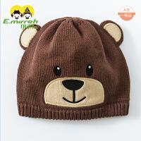 婴幼儿帽子秋纯棉小熊男童帽子薄款毛线帽保暖宝宝帽子卡通针织帽4456 褐色