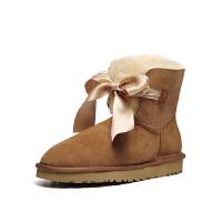 【现货】香港直邮UGG2018冬季新款女士雪地靴经典新奇系列蝴蝶结迷你短靴专柜正品1098360