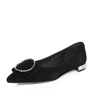 BASTO/百思图2018春季专柜同款羊皮尖头珍珠蝴蝶结浅口女单鞋EA516AQ8