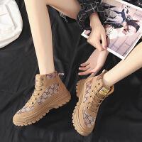 马丁靴 女士加绒保暖高帮圆头休闲板鞋2020韩版女式学生街拍防滑低筒短靴子