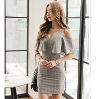 一字领露肩连衣裙2018春夏新款女装收腰荷叶边短款包臀裙 灰色