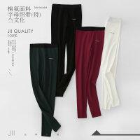 [AMII东方极简] JII[东方极简]2017秋装新款简洁修身百搭字母织带弹力打底裤紧身裤