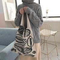 韩版百搭帆布包休闲布包文艺女包简约印花包袋单肩包女士手提包包