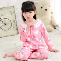 春秋季纯棉女童儿童睡衣长袖女孩夏季小童小孩童装宝宝家居服套装
