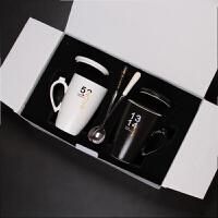 情人节情侣杯子 陶瓷马克杯带盖勺家用牛奶杯咖啡茶杯 一对水杯