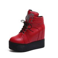 2018秋冬季新款短靴厚底内增高女鞋12cm冬天坡跟加绒马丁靴潮鞋子