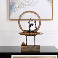 创意瑜伽莲花树脂摆件家居家饰装饰品工艺品客厅样板房摆设