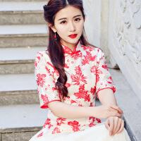 2018春夏新款文艺范重工手工刺绣立领盘扣中国风改良旗袍上衣 红色