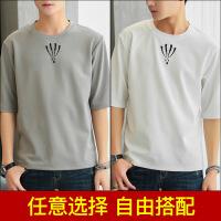 2018夏季新款男士短袖t恤韩版五分袖体恤潮流圆领半袖上衣服