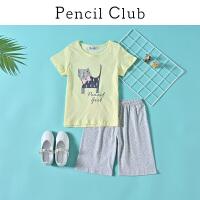 【3折价:35.7】铅笔俱乐部童装2020夏装新款女童短袖卡通印花家居服中大童T恤裤子套装