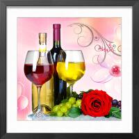现代餐厅有框画装饰画饭厅挂画 中式壁画红酒葡萄三联画酒店挂画 70*70(厘米) 默认黑色框(其他框留言备注)