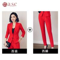 红色西装套装女小香风小西服秋冬2018新款气质职业装休闲韩版外套