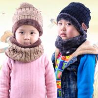 秋冬款儿童帽毛线男女童保暖护脖帽子加绒围巾两件套
