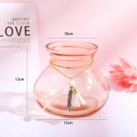 粉色小花瓶玻璃透明创意个性书桌饰品房间少女书桌上的装饰小摆件
