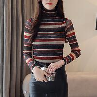 2018秋冬新款针织打底衫韩版加绒加厚时尚网纱修身上衣高领长袖T恤打底衫