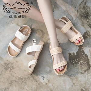 玛菲玛图2018夏新款厚底凉鞋女学院风复古仙女的鞋百搭平底罗马鞋M198180832T7