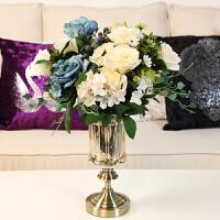 新古典欧式家居装饰品摆件 玻璃果盘花瓶仿真花