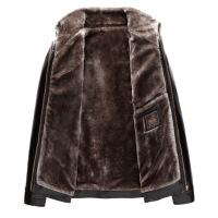 2018冬季中年男士皮衣男加厚绒毛爸爸装皮夹克冬装外