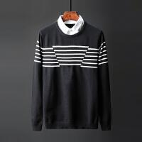 男生毛衣韩版秋装针织衫衬衫领长袖套头线衣秋帅气假两件秋冬