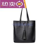 包包新款时尚女包托特包超大容量手提包韩版百搭休闲流苏单肩大包简约纯色水桶包包 黑色