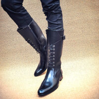 男士尖头高筒皮靴马丁靴高帮长靴马靴时尚英伦复古潮靴个性ljj 黑色