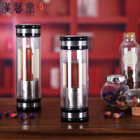 汉馨堂 茶水分离杯 简约双层高硼硅玻璃水杯男女士杯子带茶漏带盖420ml商务便携泡茶杯子