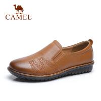 camel 骆驼秋季新品 休闲牛皮鞋妈妈套脚软底防滑平底深口单鞋女