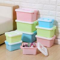收纳箱 糖果色塑料手提有盖收纳储物箱学生文具整理箱化妆品收纳盒