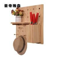 定制实木洞洞板货架墙上置物架衣帽架厨房客厅壁挂展木板收纳架