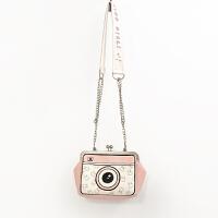 包包新款相机包小方包 可爱软妹 斜挎包宽肩带小包口金包 粉色+半链条半宽肩带 相机包