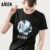 森马旗下爱肯Aiken男装短袖T恤男士夏装新款黑色圆领潮流字母半袖上衣男