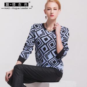 拼色毛衣女高领新款秋冬撞色几何图形套头针织衫长袖女装