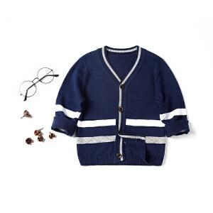 全织时代儿童装上衣男童宝宝春装V领单排扣纯棉针织衫开衫薄外套