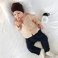 宝宝衣服 2018新品春装简约圆圈印花衬衫卡通两件套 婴儿套装